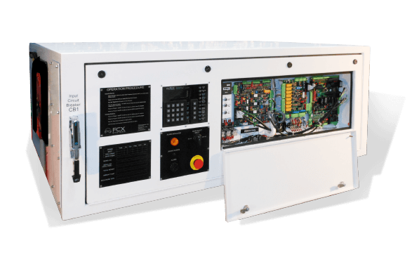 FREQUENCY CONVERTERS 60-180 KVA HORIZONTAL UNIT provides reliable solid-state converters that are designed to provide aircraft ground power in low profile applications such as under passenger boarding bridges, in maintenance hangars, or on flight lines.
